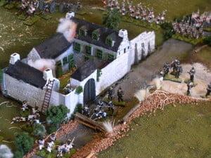 Maqueta de la lucha en la Haye Sainte