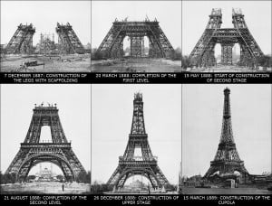 Phases of the construction of the Eiffel Tower.