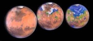 """Hipotética """"terraformación"""" de Marte."""