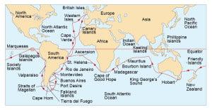 Mapa del viaje del Beagle.