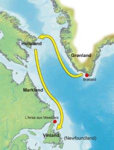 Mapa de la ruta de Leif Ericson