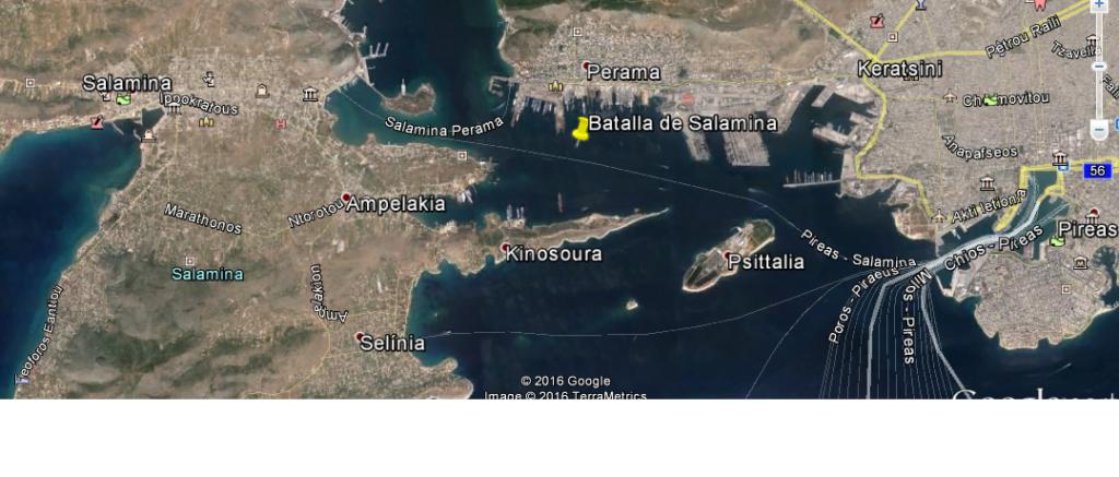 Mapa del estrecho de Salamina.
