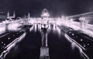 La sede de la Expo en Chicago, iluminada por Westinghouse.
