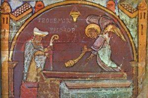 Teodomiro ante la supuesta tumba de Santiago
