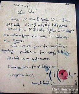 Nota de resctae de Baby Lindbergh