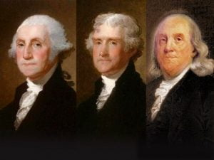 Washington, Jefferson y Franklin